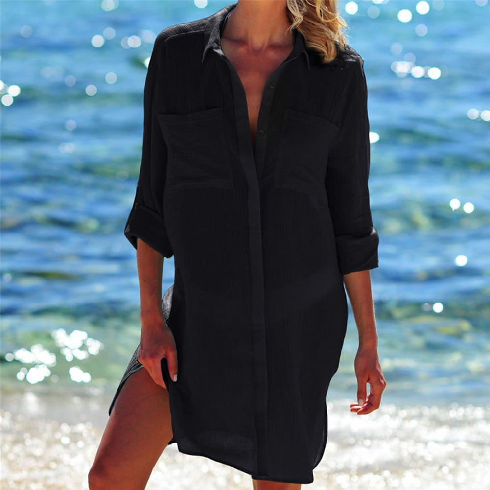 Womens Casual Top Long Sleeve Shirt Blouse Bikini Cover Up Swimwear Swim Bathing Suit Summer Beach Mini Dress