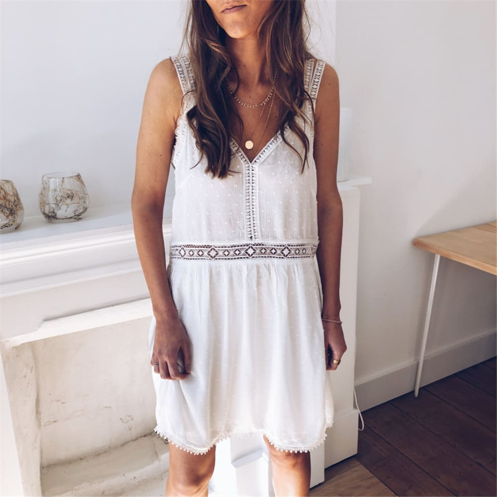 2019 New Fashion Women Summer Sleeveless Casual Loose Sundress Tops Mini Jumper Dress Beach Holiday Sundress