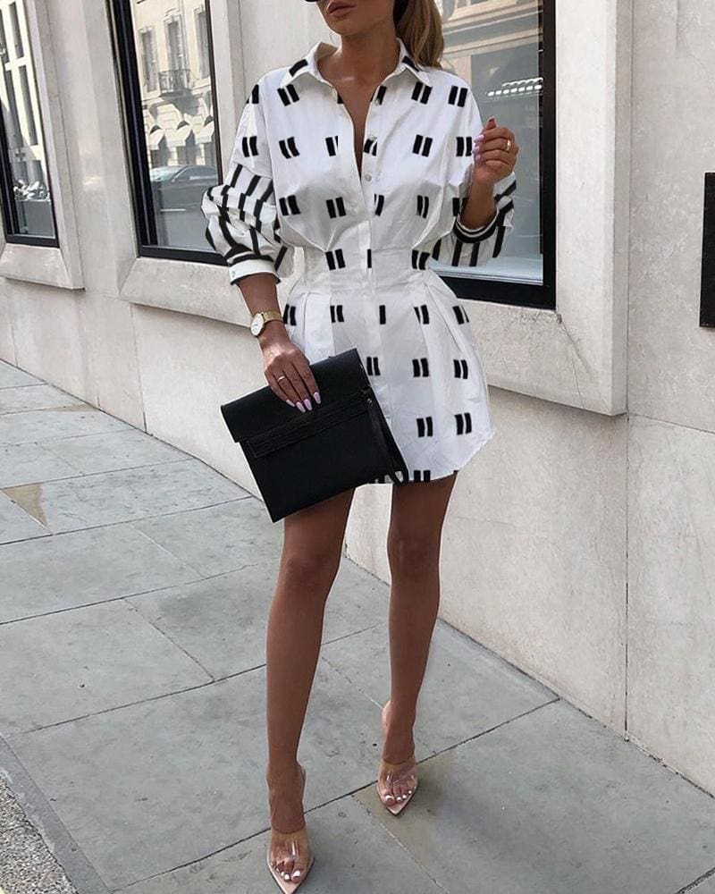 2019 Fashion Lady A-Line Dress Swing Button Long Sleeve Loose Tunic Loose Baggy Top Autumn Blouse T-Shirt Dress