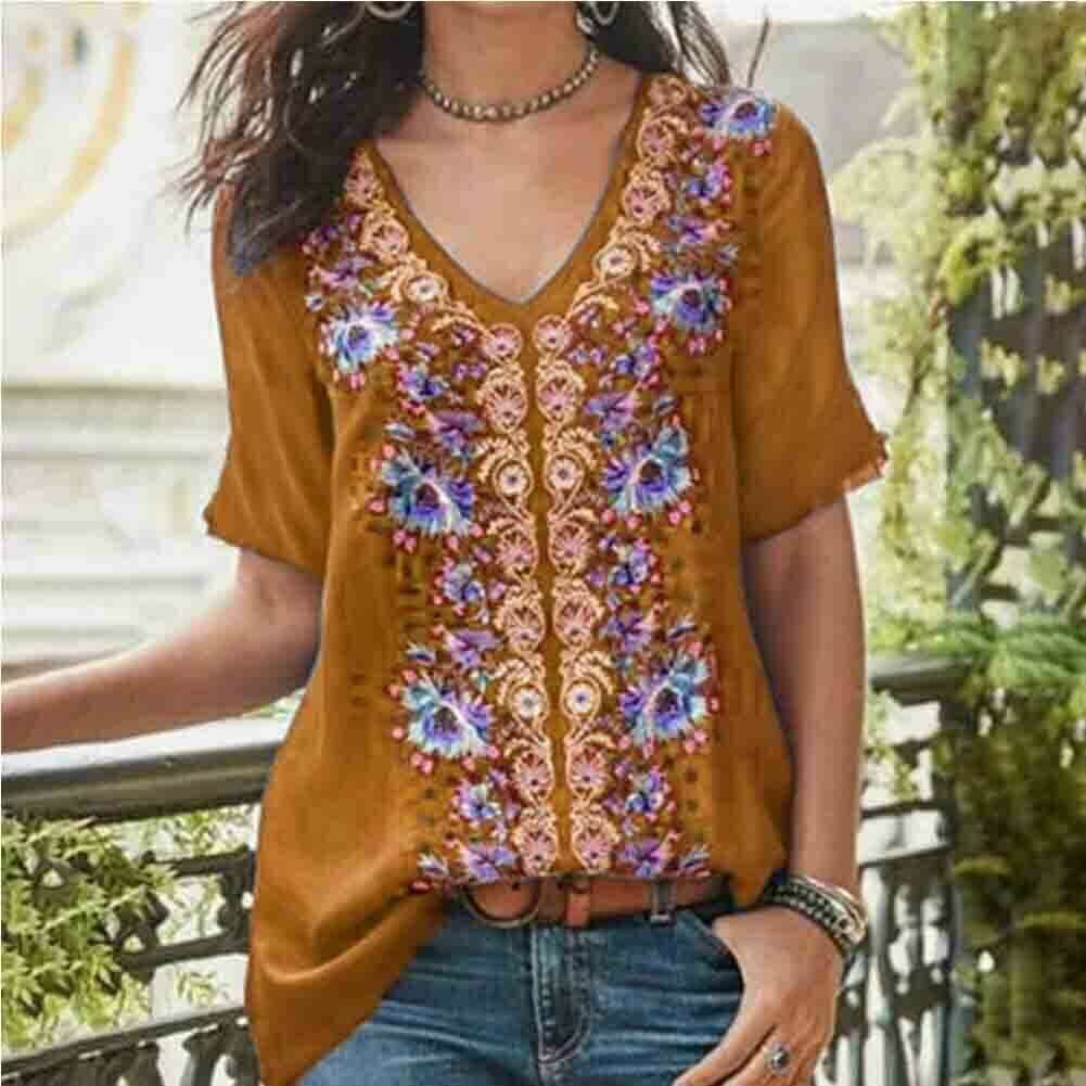 2019 Fashion Womens Summer Boho Floral Tunic Top V Neck Plus Size Ladies Casual Loose Tops T-Shirt Streetwear