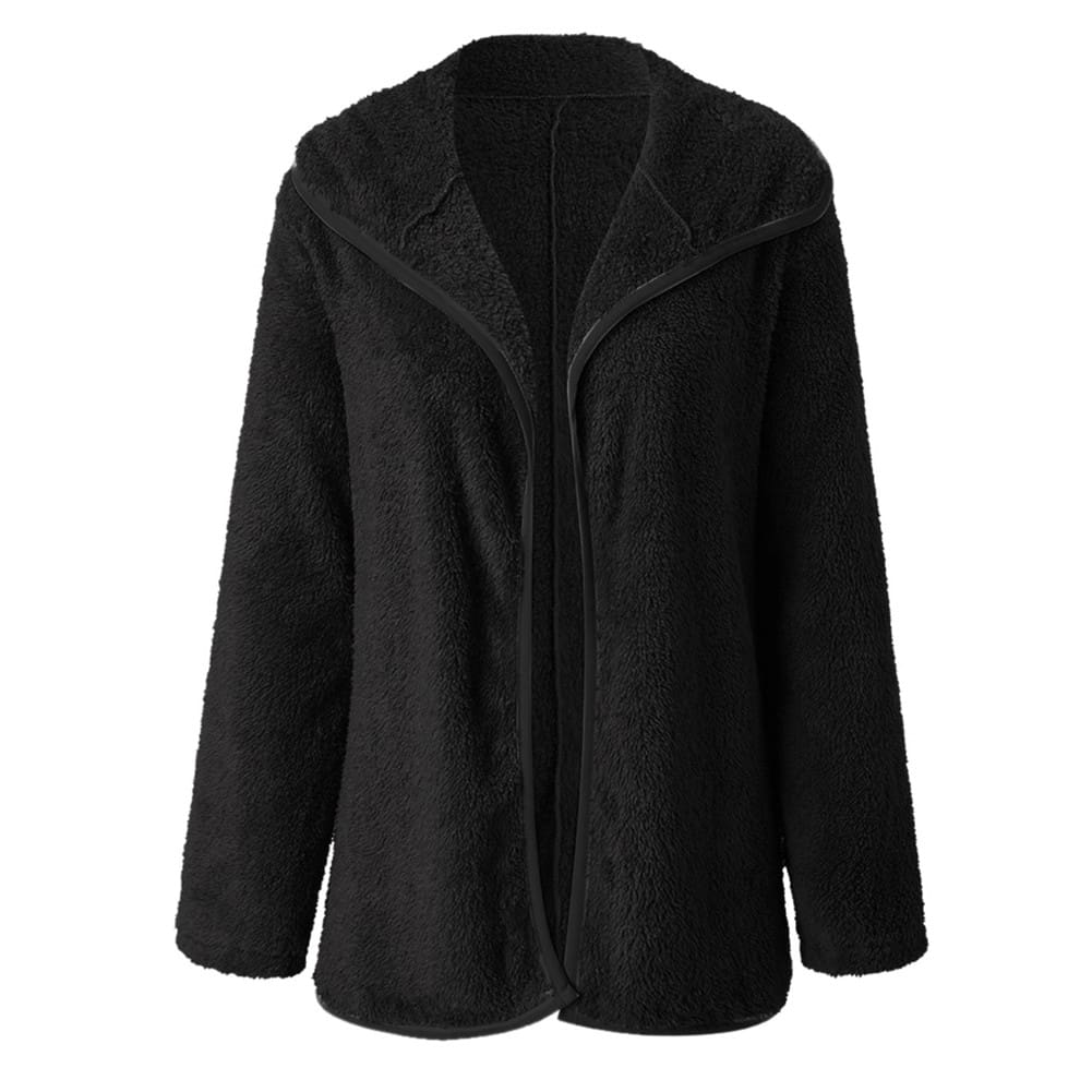 Women Lapel Loose Solid Color Jackets Ladies Casual Warm Cashmere Wool Coat Fluffy Woolen Teddy Bear Cardigan Tops
