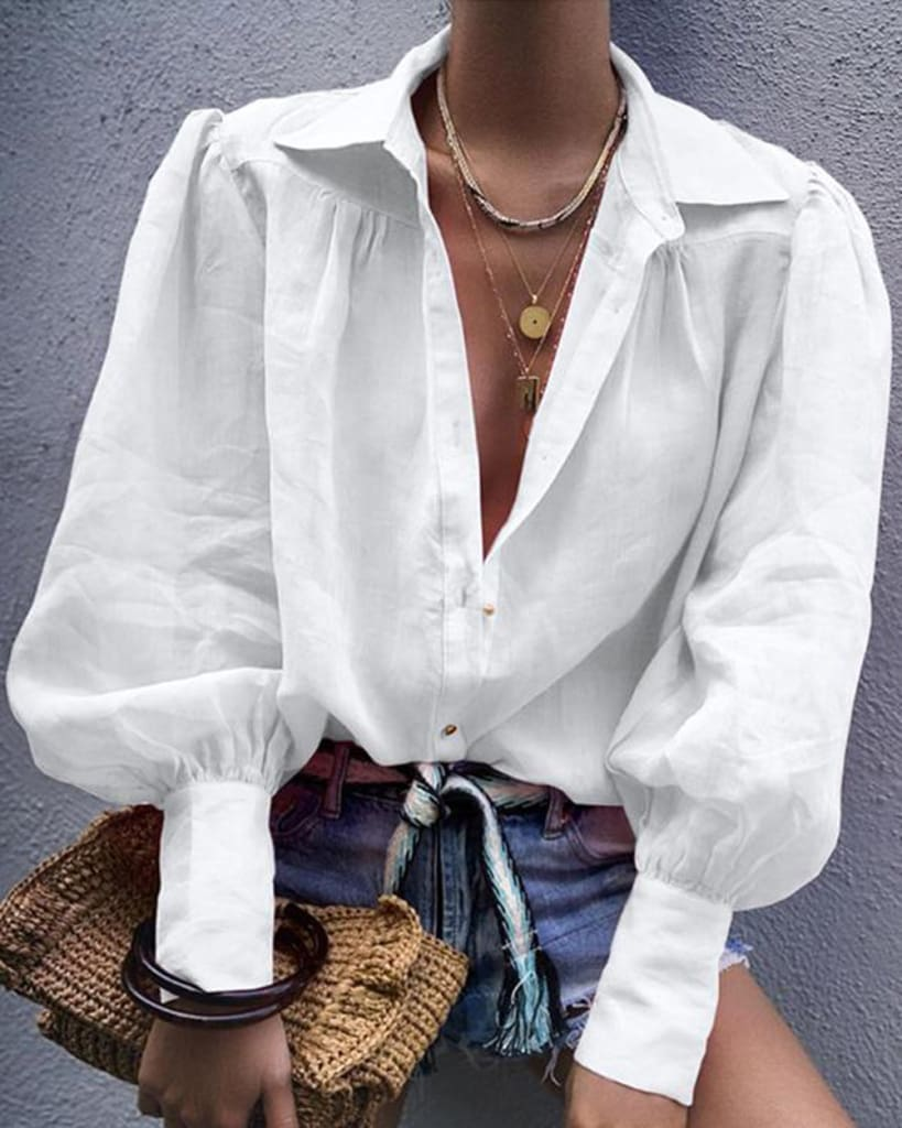 Women Blouse Fashion Lantern Sleeve Loose Blouse V Neck Casual Office Lady Shirts Tops Autumn Womens Clothing Top Femme