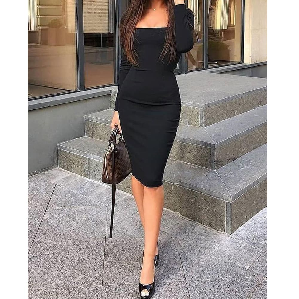 2019 Elegant Women Autumn Bandage Bodycon Knee-length Dress OL Ladies Casual Long Sleeve Evening Party Club Slim Fit Dress