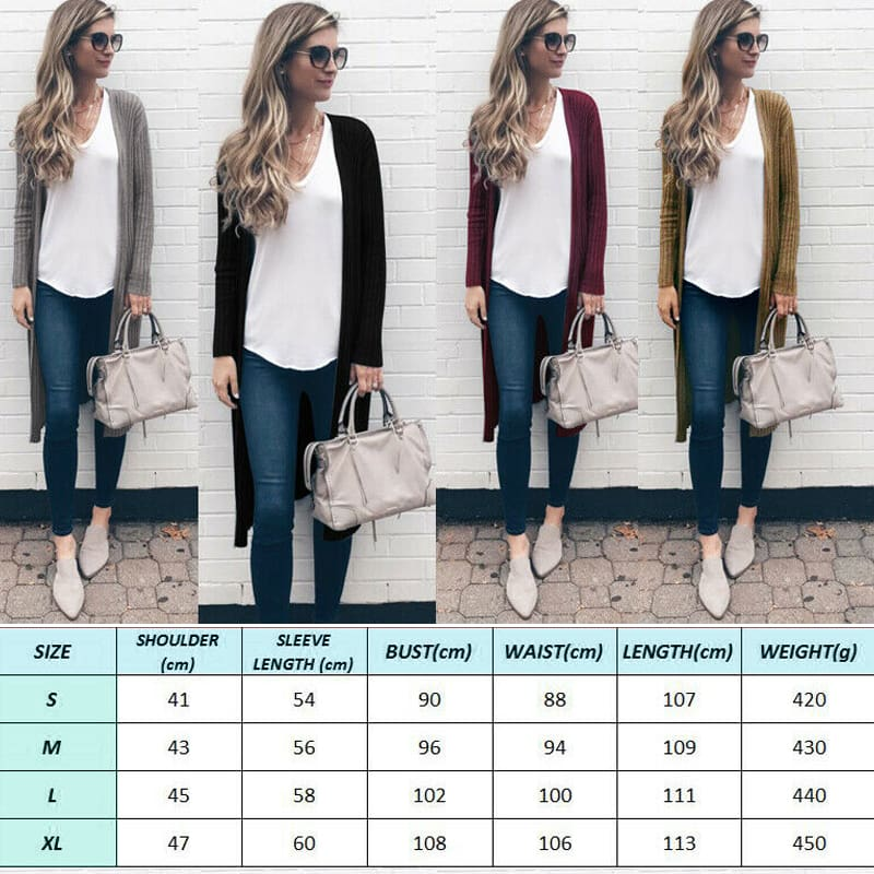 Womens Knitted Sweater Cardigans Knit Autumn Ladies Stretch Long Coats Outwear Tops Jacket Jumper Coat