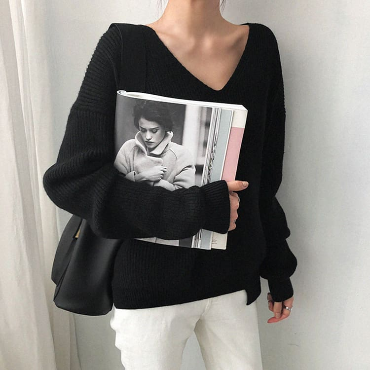 Fashion Women Long Sleeve Knitted Sweater Knitwear Jumper Outwear Autumn Winter Casual Tops Pullover V neck Sweaters One Size