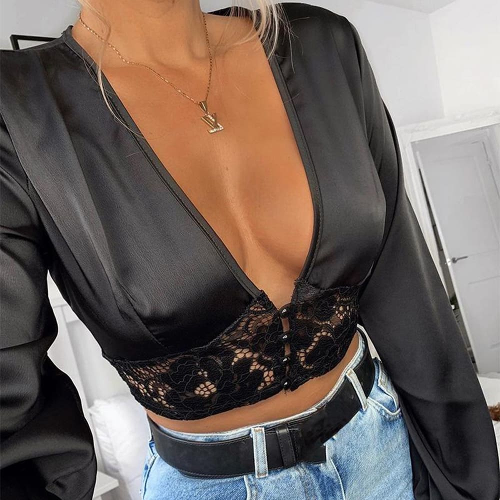 Fashion Women Autumn Blouse Hollow Deep V Neck Lace Crop Top Casual Long Sleeve Tops Ladies Sexy Shirts Outwear