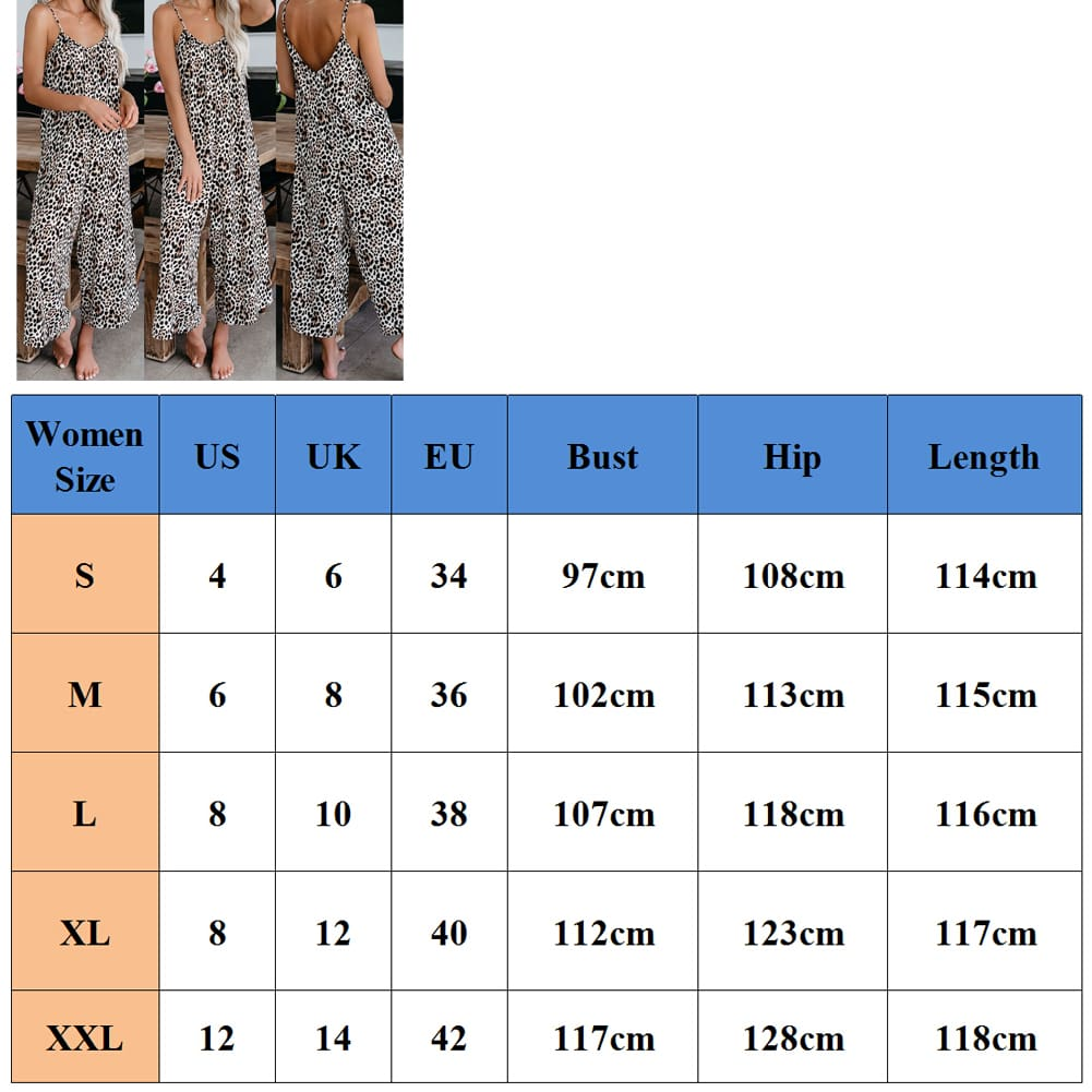 Fashion Womens Leopard Jumpsuit Casual Romper Sleeveless Long Pants Loose Playsuit Clubwear Trousers Outfits Streetwear