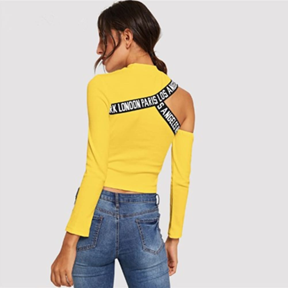 Fashion Women Hollow Out T Shirt Studded Long Sleeve Tops Tee Ladies Cold Shoulder Slim Fit Casual Tops Clubwear