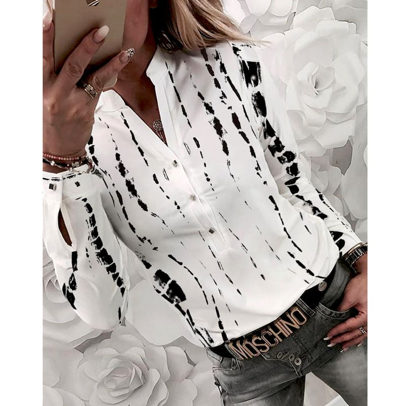 Women Shirts Striped Blouses Office Ladies Long Sleeve Buttons Slim Shirts Tops