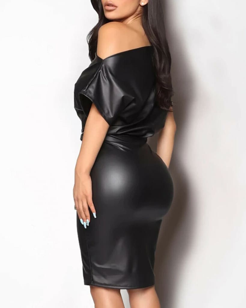 Women Leather Bodycon Dress Sexy Ladies Off Shoulder Short Sleeve Club Evening Party Mini Dress