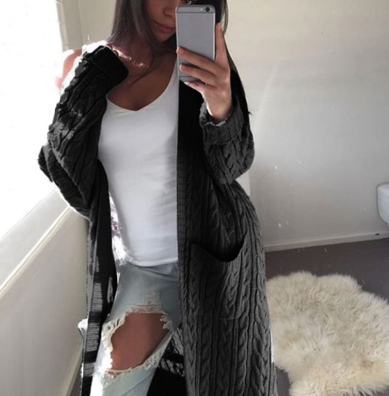 Fashion Women Knitted Chunky Cardigan Sweater Open Front Pocket Coat Winter Casual Long Jumper Coat Jacket Tops