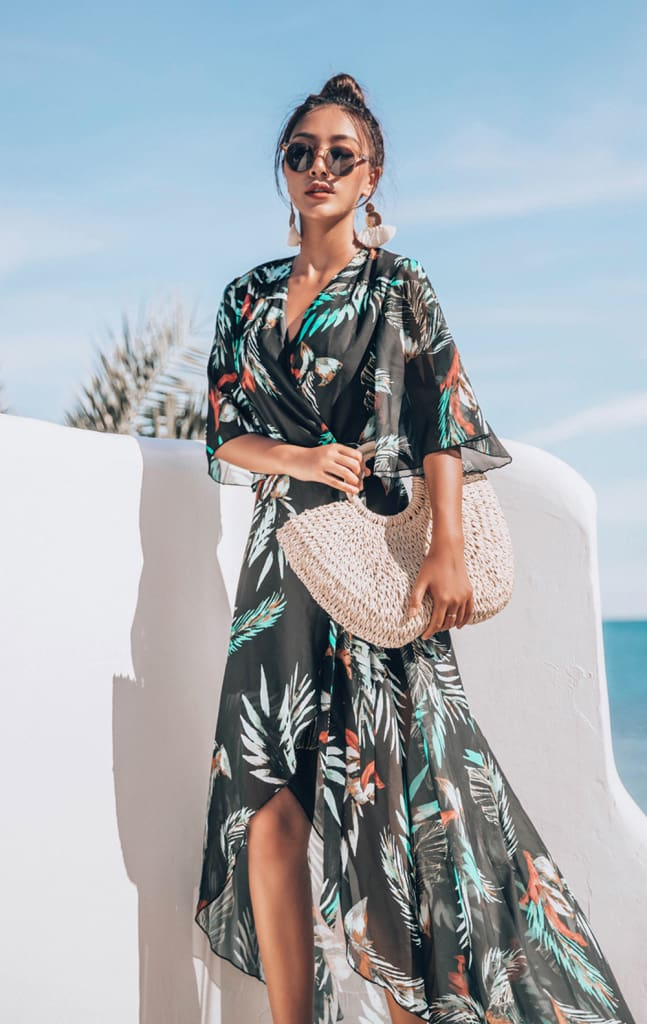 Womens Bikini Cover Up Swimwear Beach Maxi Wrap Dress Boho Casual Cardigan Sarong Kimono Blouse Kaftan Dress Sundress