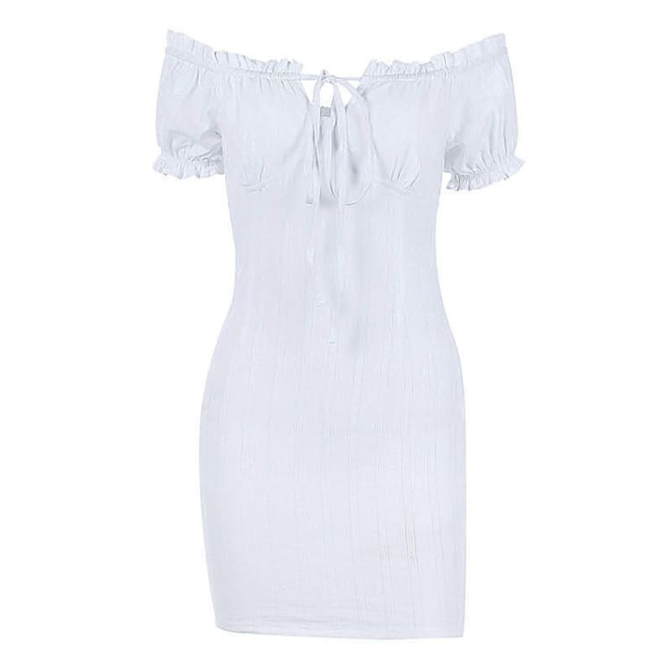 White Sexy off shoulder Ruffles bodycon bandage mini dress
