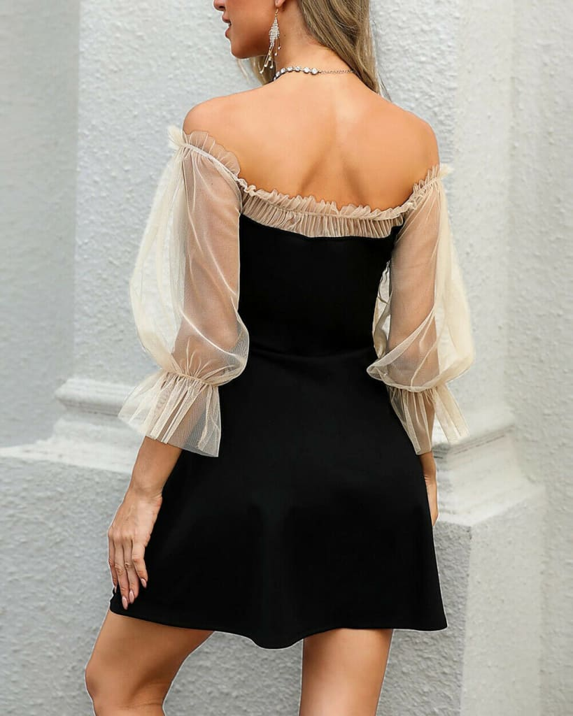 Sexy Off Shoulder Lace Mesh Patchwork Puff Sleeve Casual Mini Dress