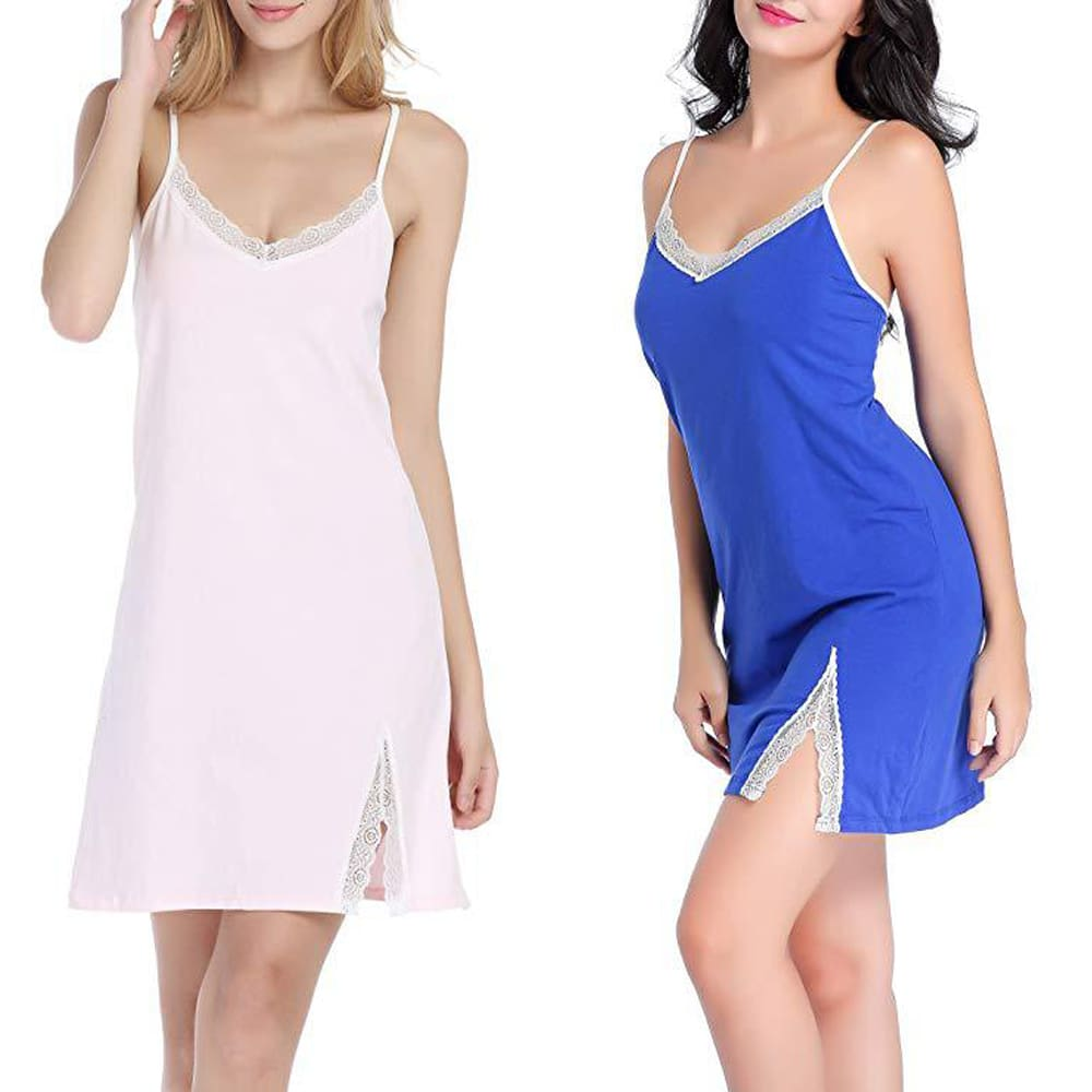 New Women Sleeveless V-Neck Lace Robe Dress Babydoll Nightwear Sleepwear Solid Casual Daily Nightdress