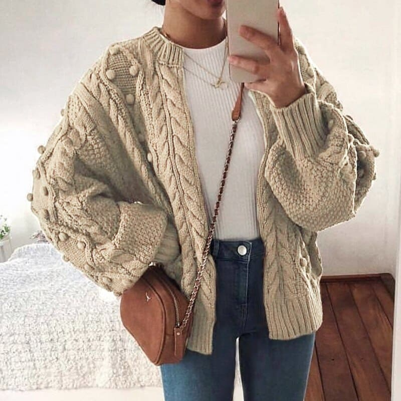knitted cardigan women 2019 Casual zipper female streetwear Autumn