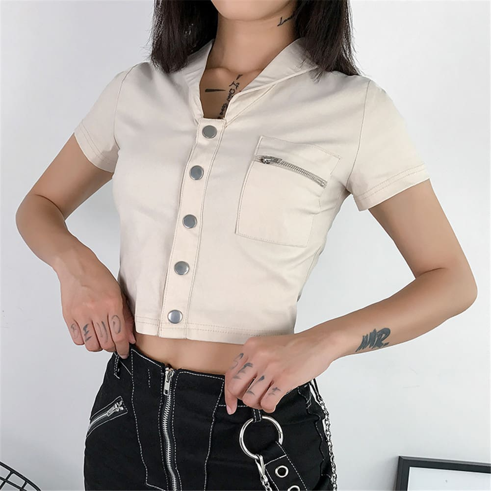 Casual Tank Tops Vest Blouse Short Sleeve Solid Button Short Crop Shirt
