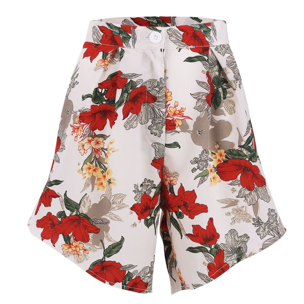 Fashion Women Floral High Waist Shorts Summer Casual Printed Ladies Beach Holiday Travel Loose Trouser New