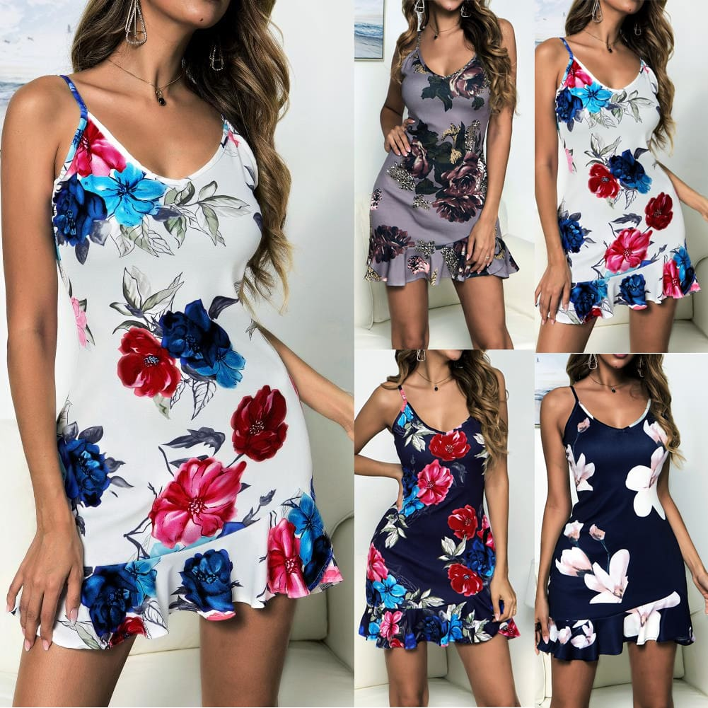 Women Floral Boho Strappy Sleeveless Stretchy Package Hip Bodycon Dress Summer Holiday Beach Mini Short Dress