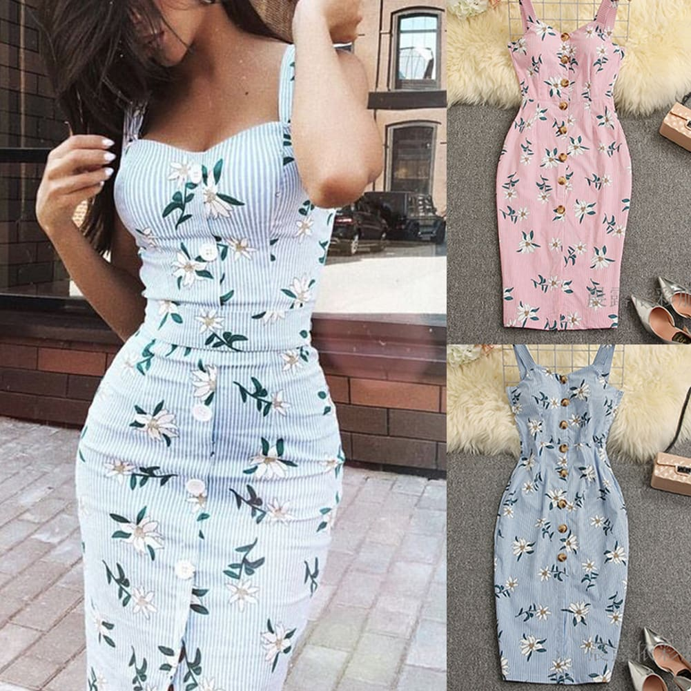 Summer Strappy Floral Bodycon Dress Women Pencil Dresses