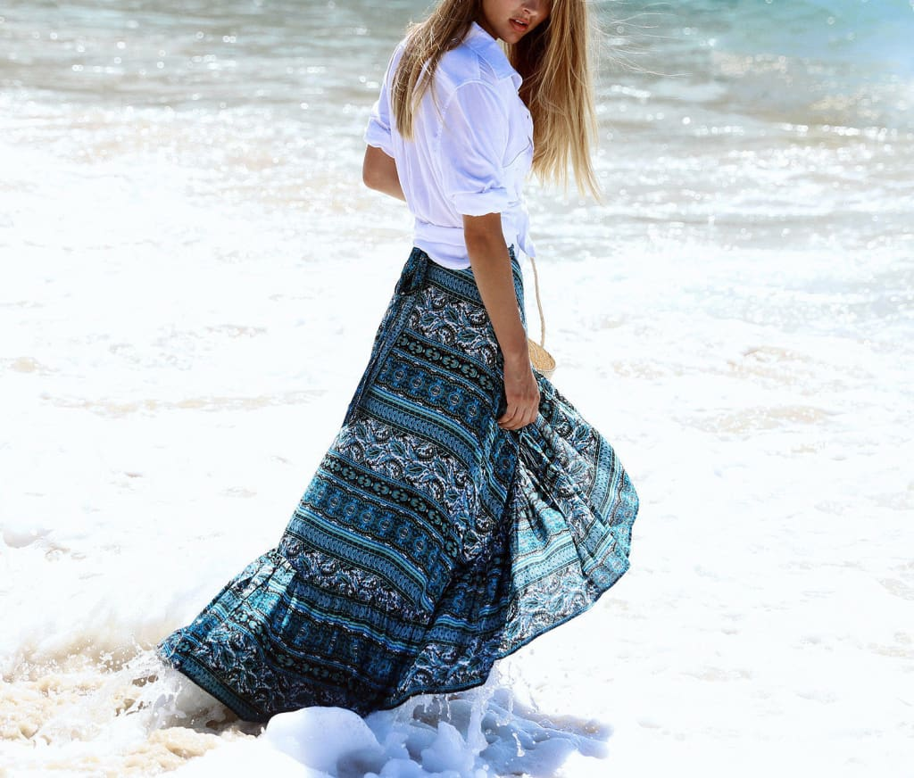 Women Ladies Casual Boho Tribal Floral Skirt Female Summer Beachwear Party Casual Long Maxi Skirt Sundress