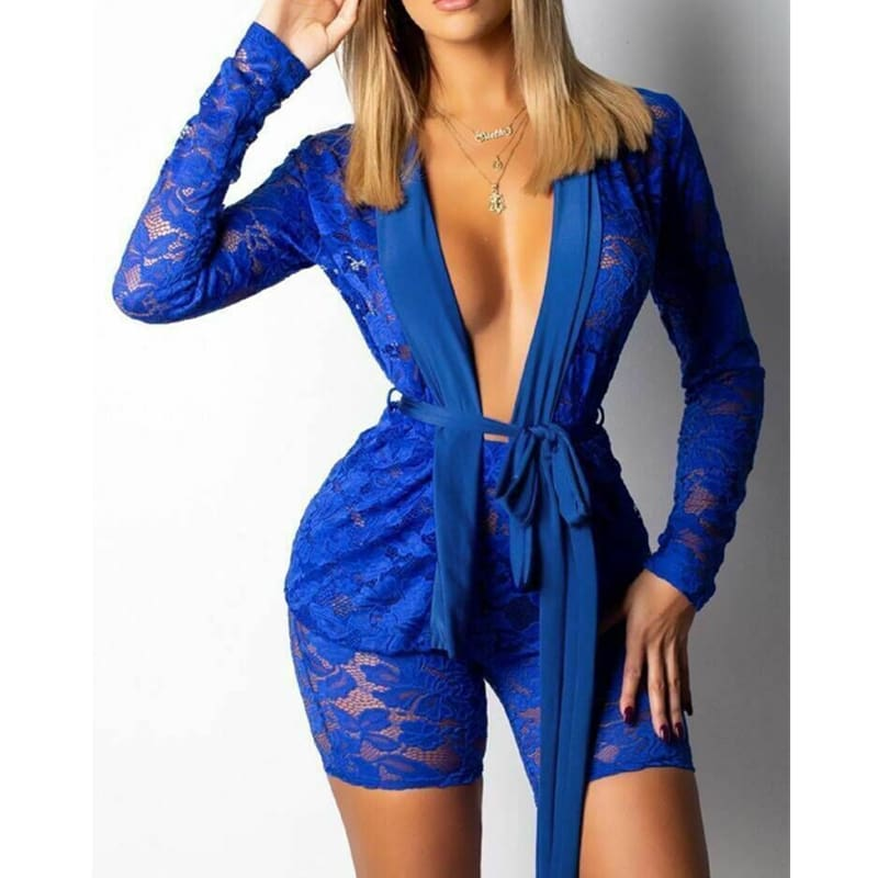 2pcs Fashion Women Long Sleeve V-Neck Bodycon Jumpsuit Sexy Slim Lace Tops+Pants Set Casual Solid Clubwear