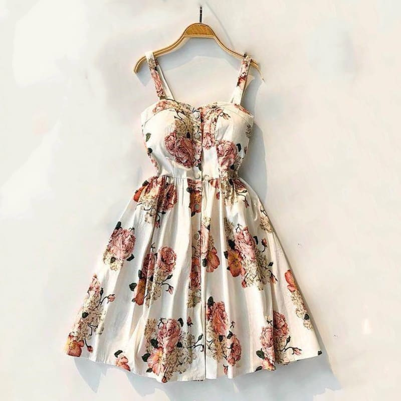 Summer Women Spaghetti Strap Print Floral Sleeveless Style dress
