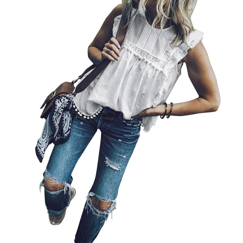 Women Summer Blouse Sleeveless Tops Lace Hollow Tanks Casual Shirt