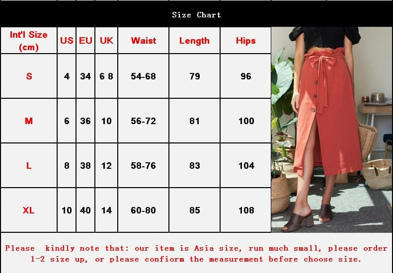 Womens Boho Elastic High Waist Front Slit Skirt Maxi Button Bandage Casual Solid Color Skirt Fashion Summer Clothes