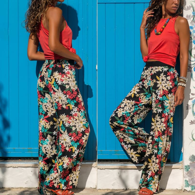 Women Baggy Harem Pants Boho Hippie Wide Leg Pant High Waist Trousers