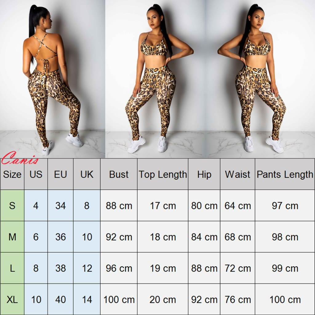 2PCS Women Sexy Leopard Sport Suit Backless Vest Bra Tops + Stretchy Legging Pants Leopard Tracksuit Hot