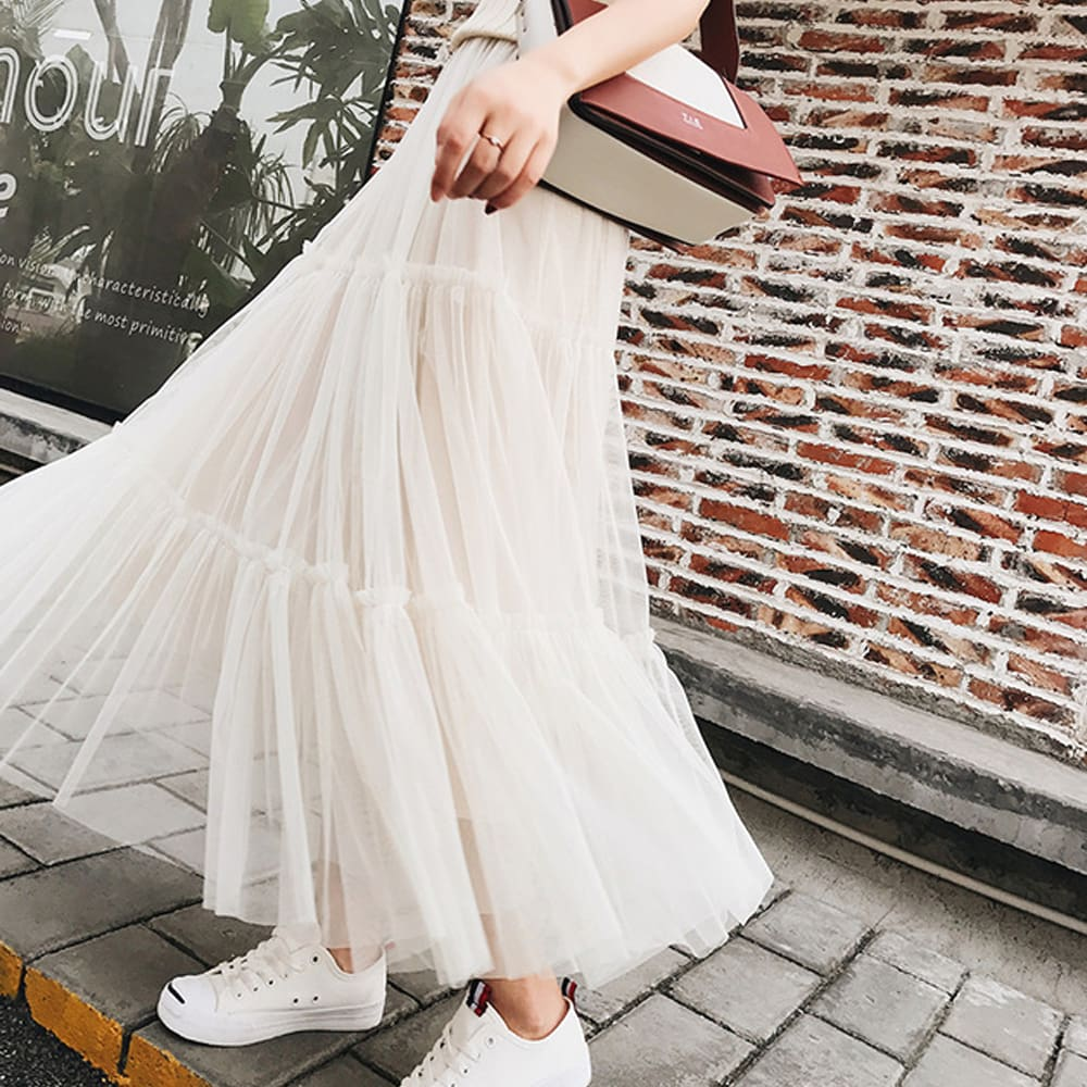 Summer Women Elastic Mesh Tulle Pleated Skirt Ladies Casual Holiday A-Line High Waist Solid Long Maxi Skirt
