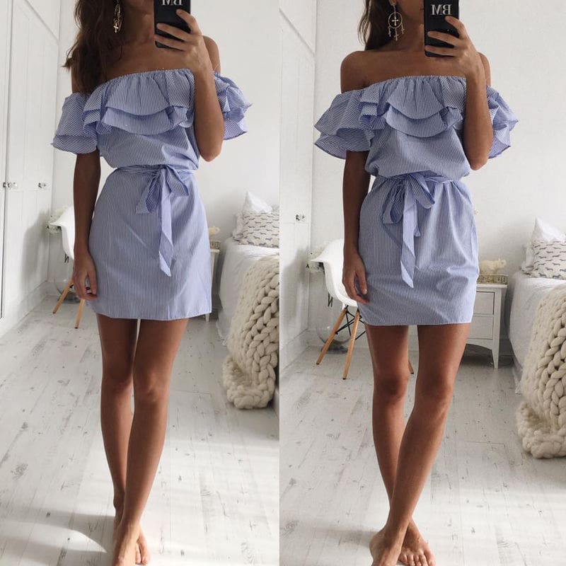 Cloth Striped Sashes Summer Dress Ruffle Collar Bandage Casual Dresses