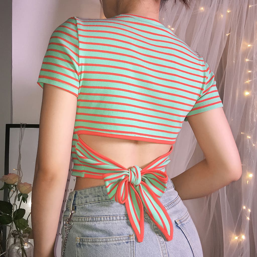 2019 Fashion Women Striped Crop Top Short Sleeve T Shirt Summer Holiday Slim Casual Tops New Ladies Clothes