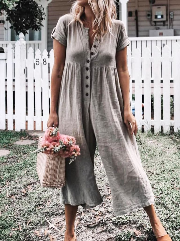 Summer Casual Jumpsuits Womens Summer Short Sleeve Loose Jumpsuit Ladies Solid Casual Button Wide Leg Jumpsuit