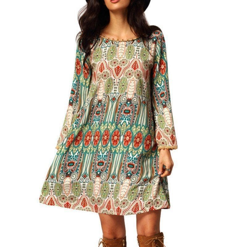 Fashion Women Floral Boho Chiffon Sundress Ladies Casual Long Sleeve Summer Beach Holiday Loose Short Mini Dress