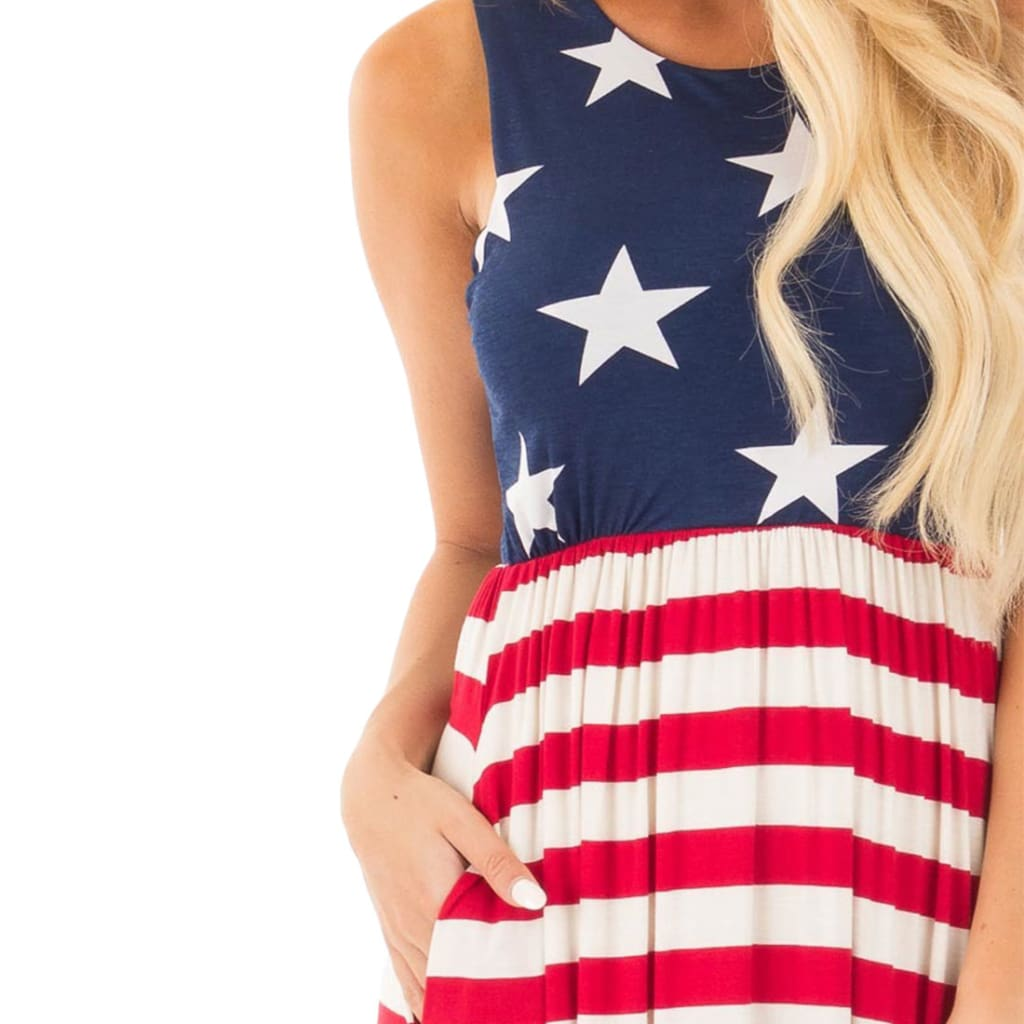 Women Sleeveless Beach Dress American US Flag Printed Boho Maxi Dress