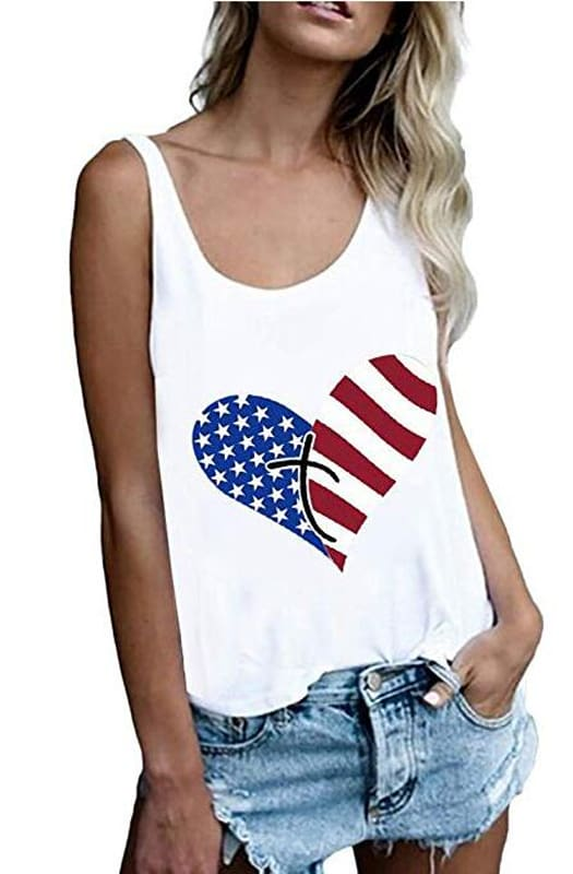 Print Vest Cami Tops Tees Sleeveless Blouse Ladies Casual Loose Tank Tops