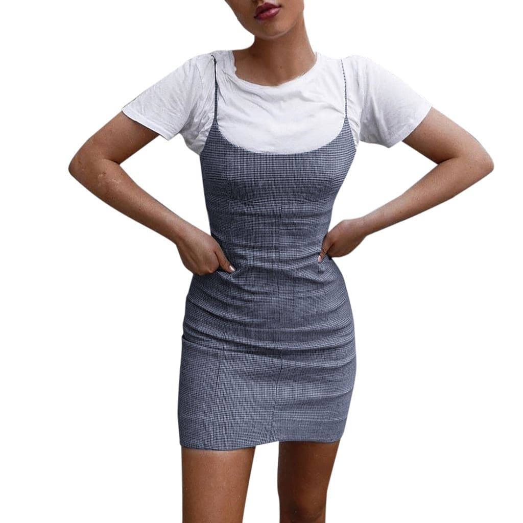 Best Sale Plaid Spaghetti Strap Mini Bodycon Dress Women Wear