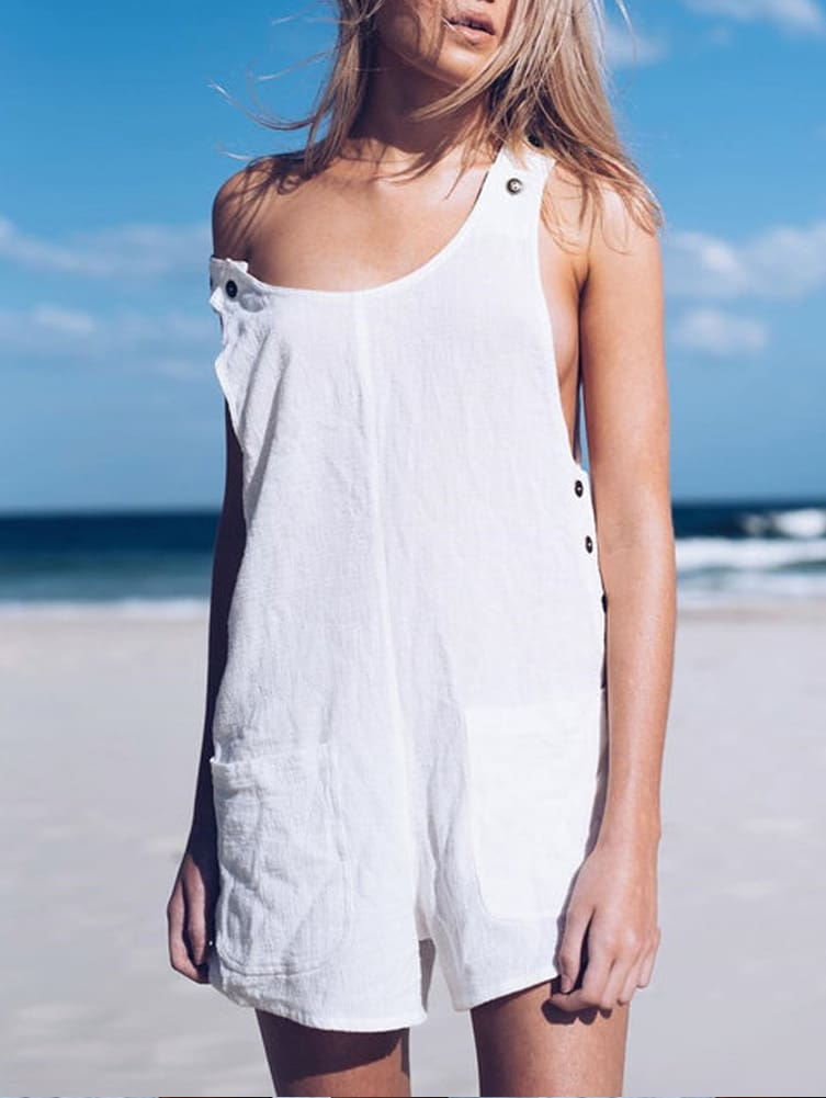 Fashion Women Sleeveless Linen V-Neck Pockets Rompers Summer New Ladies Solid Playsuits Holiday Casual Playsuit Plus Size