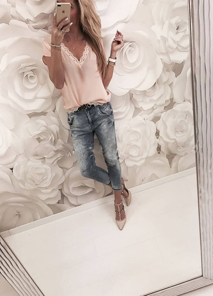 Women Tops Summer Tee Casual Loose Lace Short Sleeve Tops