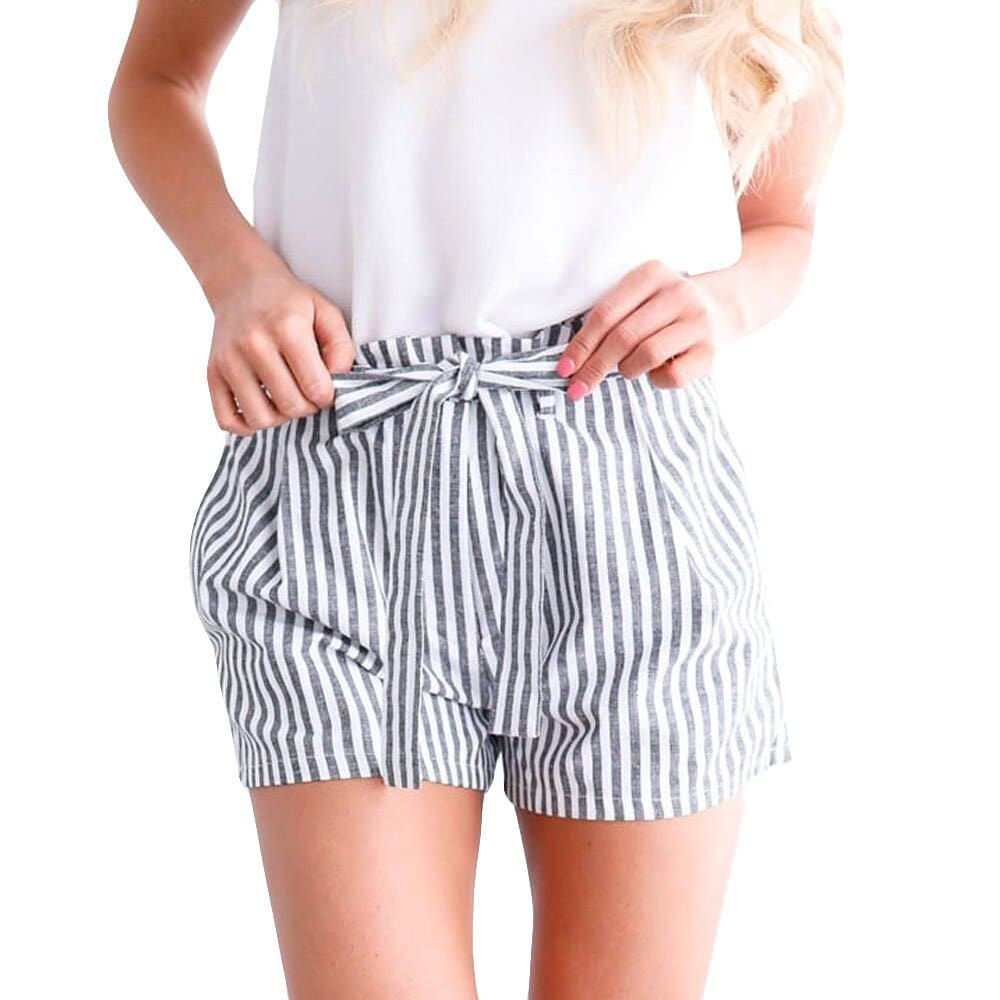 Women Striped Casual Loose Hot Pants Lady Summer Beach Shorts Trousers