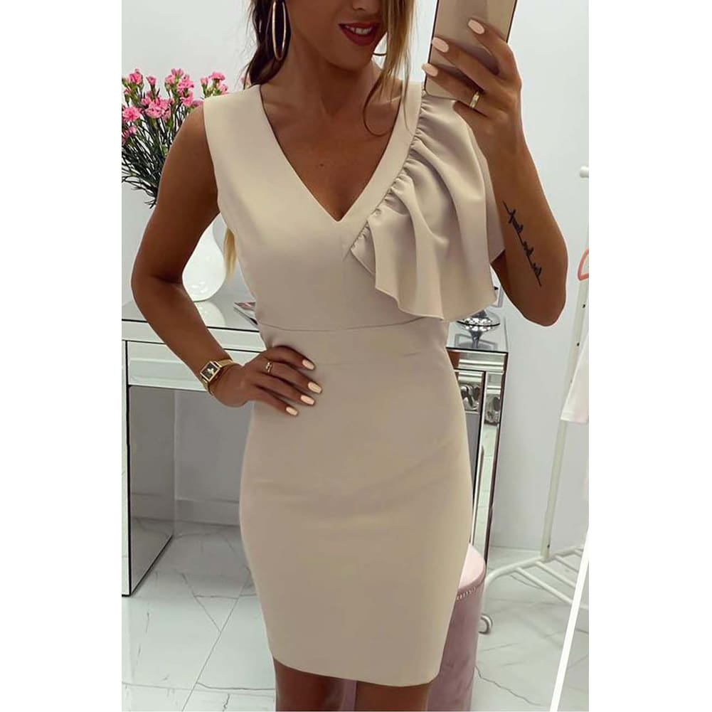 2019 New Elegant Womens Business Office Dress Bridesmaid Wedding Party Cocktail Mini V Neck Formal Bodycon Sheath Pencil Dress