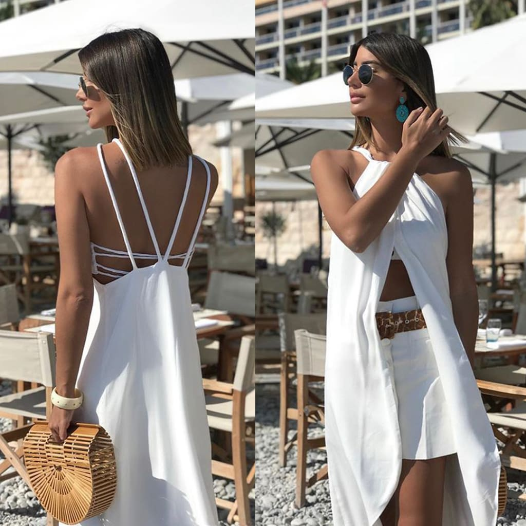 Fashion Women Ladies Sleeveless Backless High Slit Summer Boho White Beach Casual Loose Mini Shirt Beach Strap Top