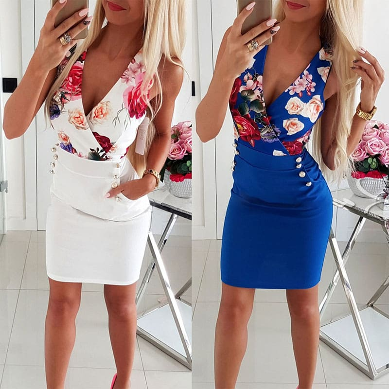 Elegant Women Sleeveless Bodycon Slim Floral Sundress Holiday Pocket Slim Mini Dress