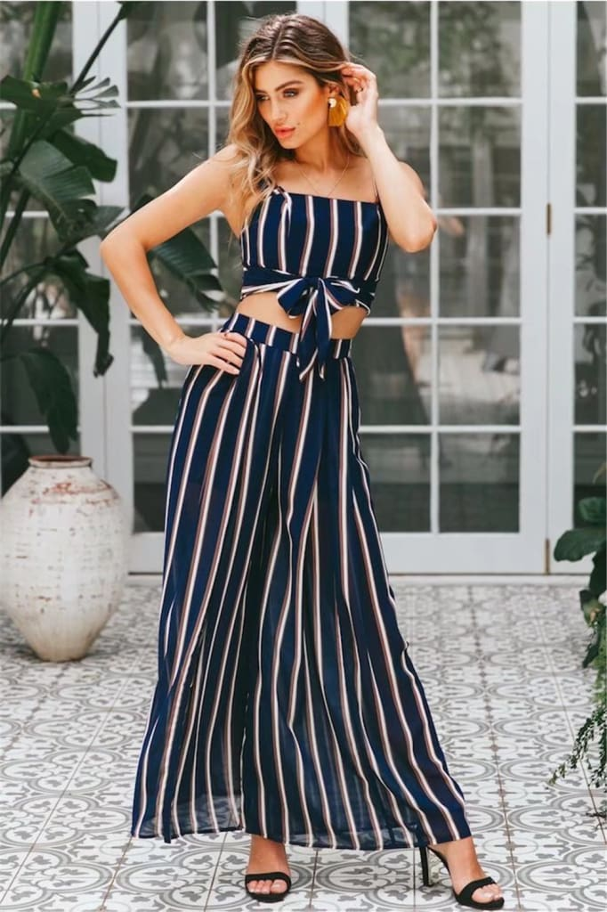 2PCS Women Outfits Striped Sleeveless Bow Crop Top + Long Wide Leg Pants Casual Ladies Summer Holiday Loose Trouser