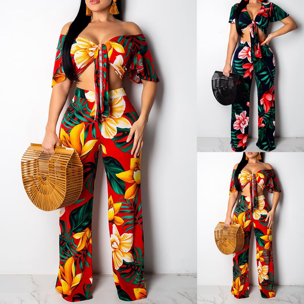 2PC Women Floral V-Neck Crop Top+Stretch Wide Leg Trousers Pants