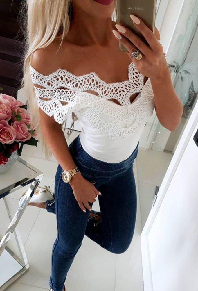 Elegant Casual Off shoulder Lace Slim T-Shirt Top Ladies Sleeveless V-Neck Tops Sexy Slim Solid Shirts