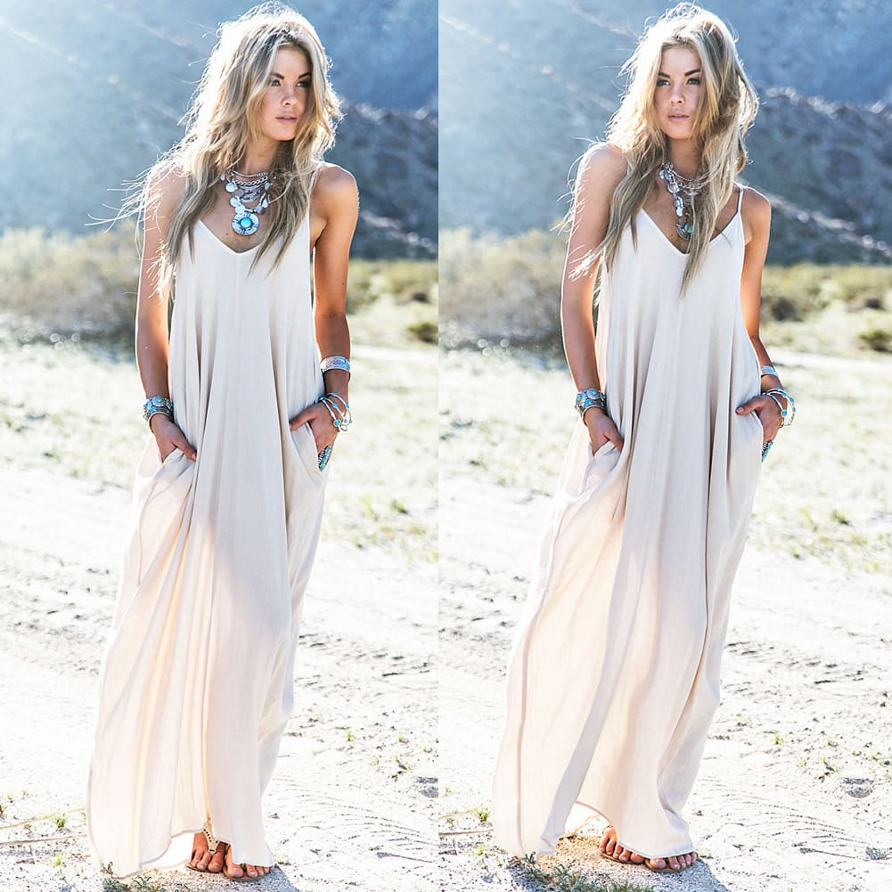 Fashion Summer Dress Women Boho Long Maxi Dress Ladies Casual Beach Holiday Party Casual Loose Summer Sundress