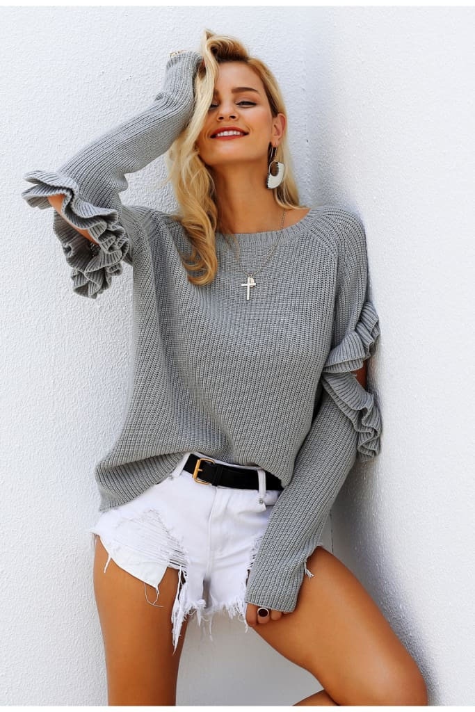 Autumn Winter Ruffle Sweater Women Hollow Out Long Sleeve Warm Jumper